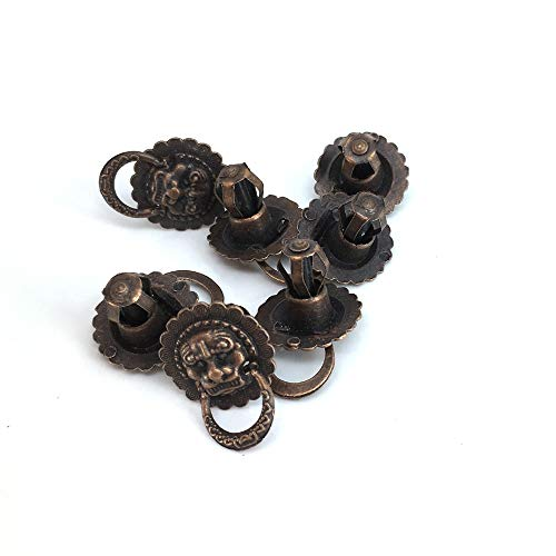 BIG-DEAL Handle knobs_20mm Antique Bronze Lion Head Small Drawer Pull Wooden Box case knobs, Jewelry Box Retro Package Box knobs_ 50 Pieces ()