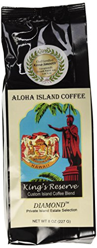 DIAMOND Medium-Light Roast, Kings Reserve Kona Hawaiian Coffee Blend, 8 Oz Ground
