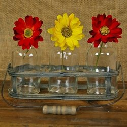 Rustic Basket With 3 Glass Jars, Distressed Metal And Wooden Handle