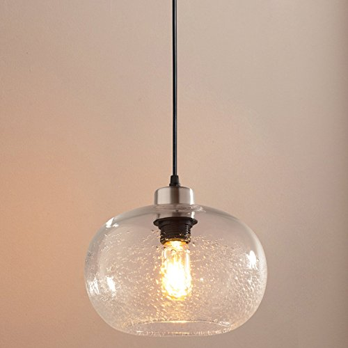 Casamotion Pendant Lighting Handblown Seeded Glass Drop Ceiling Lights, Rustic Globe Hanging Light, Clear, 1 Light