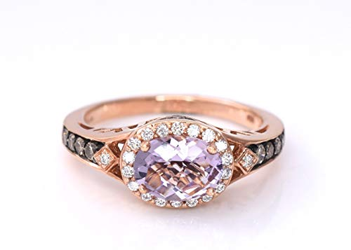 LeVian Pink Amethyst Chocolate Diamonds Cocktail Ring Jewelry 14k Rose Gold