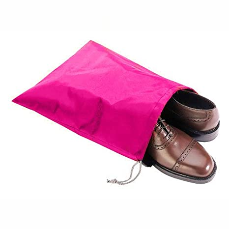 FashionBoutique waterproof Nylon shoe bags- Set of 4 travel friends (15.1(L) x12.2(W), 2 Blue(Cherry and Strawberry) + 2 Grey(Cherry and Strawberry))