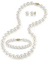 """14K Gold White Freshwater Cultured Pearl Necklace, Bracelet & Earrings Set, 18"""" - AAA Quality"""