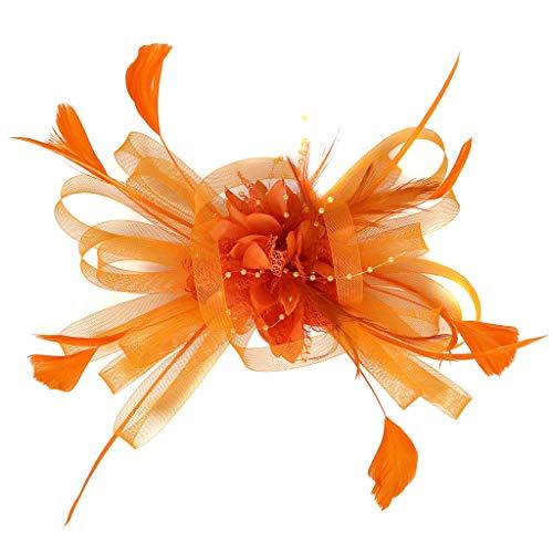 Ymout Headpiece No-Slip Clip Flapper Headband Floral Girls Headdress fashion Small hat (Orange, Free Size)