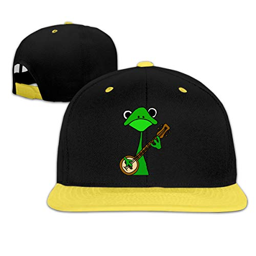 64546SF Kids Boys&Girls Funny Frog Playing Banjo Baseball Cap Snapback Adjustable Cap Yellow]()