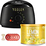 Wax Hair Removal Kit Best - 【Lemon Essential Oil】Yeelen Wax Warmer Hair Removal Waxing Kit with Essential Hard Wax Beans 10.58oz and 10 Wax Applicator Sticks At-home Waxing