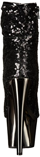 Pleaser ADORE-1008SQ Blk Sequins/Dark Pewter Chrome