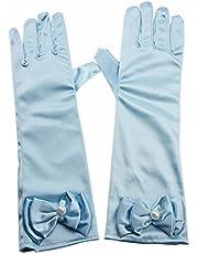 L-Peach Kids Satijn Strik Formele Handschoenen Meisjes Prinses Kostuum Handschoenen voor Bruid Party Halloween Kerstmis Cosplay