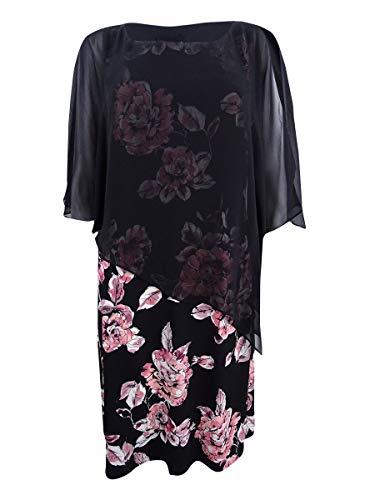 (Connected Women's Floral-Print & Chiffon Cape Dress (8, Dusty Rose))