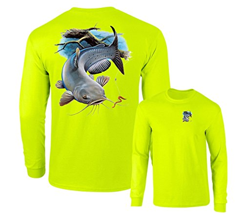- Channel Catfish and worm Fishing Long Sleeve T-Shirt, Safety green, M