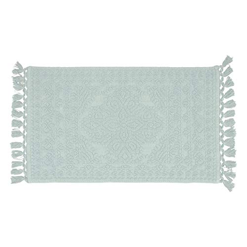 French Connection Nellore Fringe Bath Rug 17 in. x 24 in. Light Blue