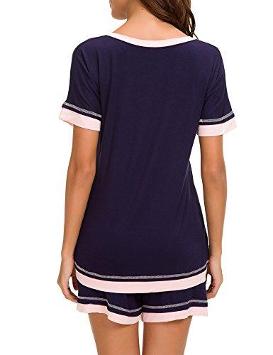 Dolay Sleepwear Women V-Neck Pajama Set Cotton Short Sleeve PJS Set (Navy, Large) by Dolay (Image #1)