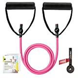 RitFit Single Resistance Exercise Band with Comfortable Handles - Ideal for Physical Therapy, Strength Training, Muscle Toning - Door Anchor and Starter Guide Included (Rose Pink(10-15lbs))