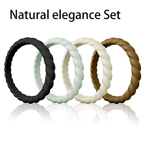 Egnaro Silicone Wedding Ring for Women, Stackable Braided Rubber Weeding Rings Bands fit Travel Sports Working - Size 4 5 6 7 8 9 (Ladys Band Ring Wedding)