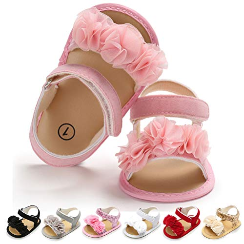 (Infant Baby Girls Summer Sandals Folwer Soft Sole Toddler First Walker Crib Dress Shoes (6-12 Months Infant, A-Pink Baby Girl Shoes)