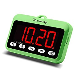 DreamSky Digital Kitchen Timer with Large Red Number Display, Count Up & Down, Loud Alarms with Volume Adjustable (High/Low), Magnetic Back Stand, Battery Operated, Easy Operation.