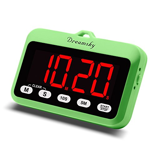 DreamSky Digital Kitchen Timer with Large Red Number Display, Count Up & Down, Loud Alarms with Volume Adjustable (High/Low), Magnetic Back Stand, Battery Operated, Easy Operation. ()
