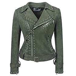 Rivet Studded Asymmetric Deer Velvet Green Biker Jacket