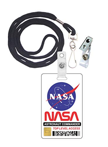 (NASA Astronaut Commander Novelty ID Badge Film Prop for Costume and Cosplay • Halloween and Party)