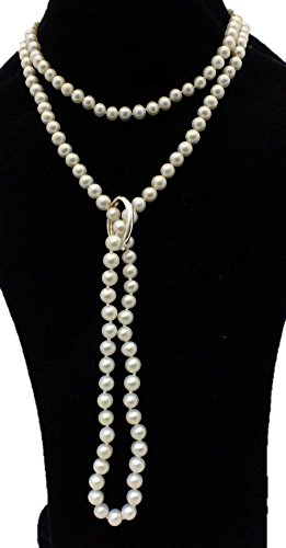 White Shanghai 6-7mm Cultured Pearl 135cm Long Necklace With A Sterling Silver Shortener by Pearls Paradise (Image #1)