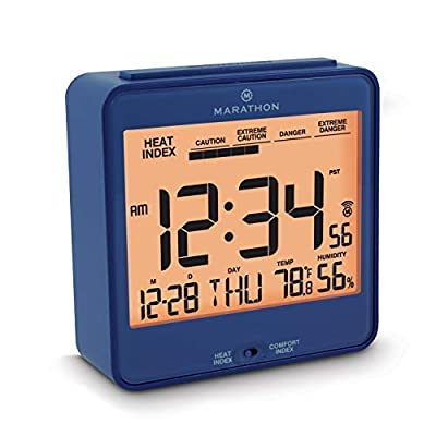 Marathon CL030054BL Atomic Desk Clock, with Backlight, Heat & Comfort Index - Batteries Included - HEAT & COMFORT INDEX: Choose between a convenient, easy to read comfort or heat index LARGE DISPLAY: The large, highly legible display features the time, day, date, temperature, humidity and either the comfort or heat index BACKLIGHT: Pressing the SNOOZE/LIGHT button triggers an amber backlight - clocks, bedroom-decor, bedroom - 41LYTOXRQ7L. SS400  -