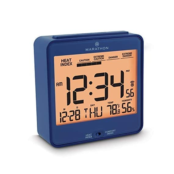 Marathon CL030054BL Atomic Desk Clock, with Backlight, Heat & Comfort Index - Batteries Included - HEAT & COMFORT INDEX: Choose between a convenient, easy to read comfort or heat index LARGE DISPLAY: The large, highly legible display features the time, day, date, temperature, humidity and either the comfort or heat index BACKLIGHT: Pressing the SNOOZE/LIGHT button triggers an amber backlight - clocks, bedroom-decor, bedroom - 41LYTOXRQ7L. SS570  -