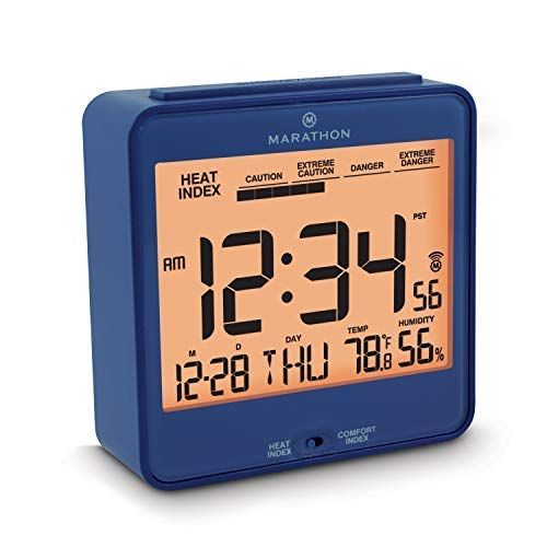 Marathon CL030054BL Atomic Desk Clock, With Backlight, Heat