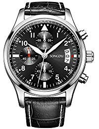 BINGER Men's Chronograph Quartz Watches Arabic Numbers with Date Analog Display and Stainless Steel Band & Leather Strap (Black)