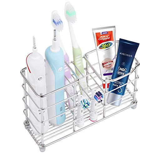 Wimaha Rustproof Toothbrush Holder Stainless Steel Bathroom Storage Organizer Stand Rack, Perfect for Large Powered Electric Spin Toothbrushes, Razor, Comb, Toothpaste, Tooth Powder