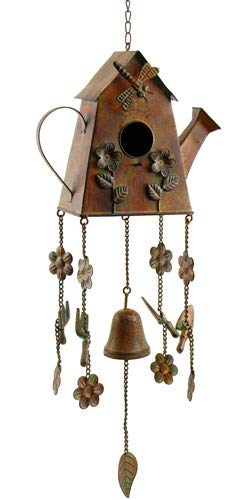 - Bronze/Copper Color Hanging Birdhouse Wind Chimes (House Watering Can)
