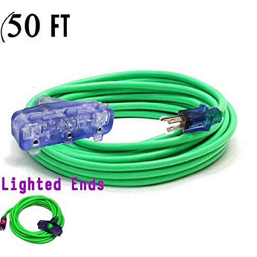 10 Gauge Power Extension Cord Heavy Duty Indoor/Outdoor 10 3 Extension Cord 50 ft 10/3 Triple Outlet 3 Prong With Lighted Ends Power Your Major Appliances 1875 watt (50 ft Triple Tap, green)