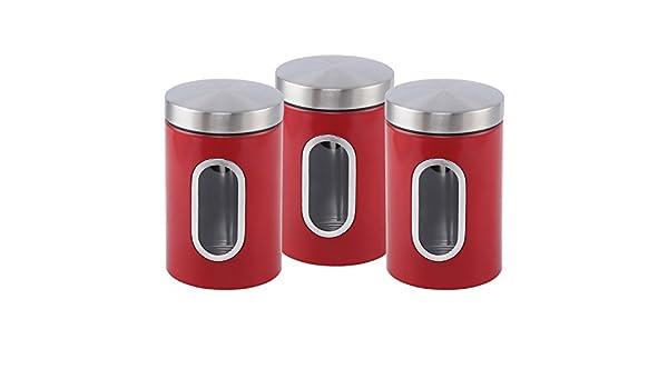 Crema 1.2L con Ventana SQ Professional Set de tarros Acero Inoxidable con 3 piezas