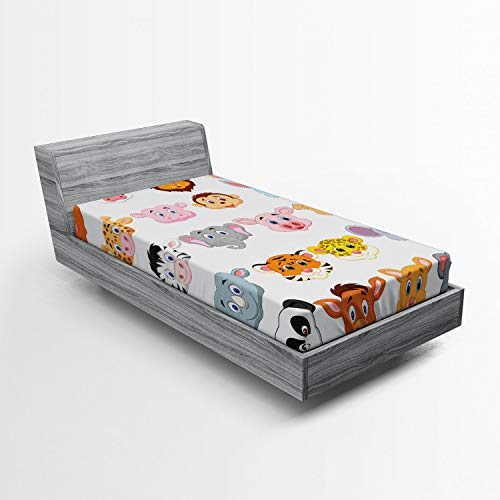 Ambesonne Cartoon Fitted Sheet, Kids Themed Baby Cute Animals Lions Pigs Cows Farm Safari Baby Nursery Room Image, Soft Decorative Fabric Bedding All-Round Elastic Pocket, Twin Size, Orange White