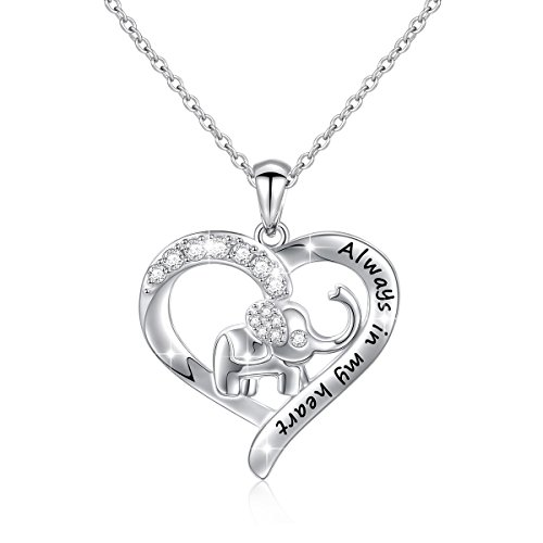 S925 Sterling Silver Lucky Elephant Love Heart Necklace for Women, 18