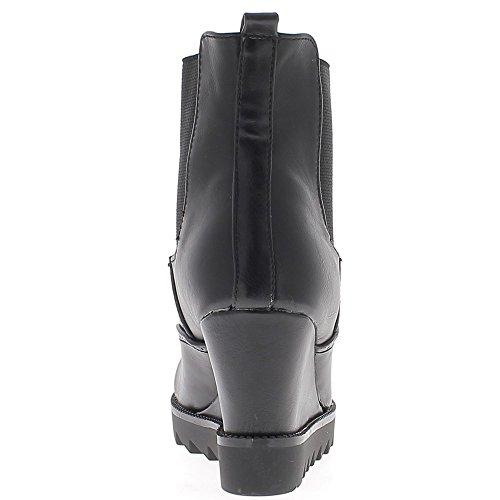 Bottines compensées noires talon de 8cm doublées crampons