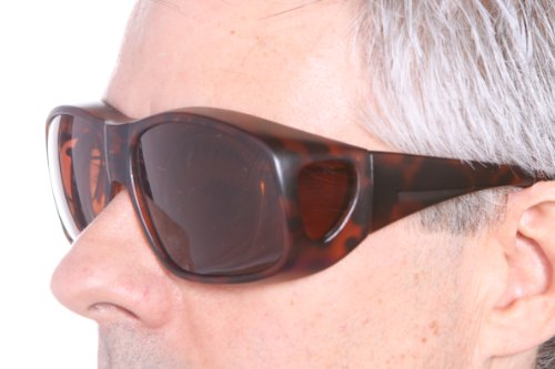 Lenscovers Wear Over Prescription Glasses Sunglasses for Men and Women Large Size (Faux Tortoise) Polarized!