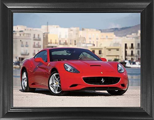 "Framed Vintage Picture (Ferrari Framed 3D Poster Wall Art Framed – 18.5x14.5"" – Cool Red Sports Car - Unbelievable Life Like 3D Lenticular Posters, 3D Print, Vintage Unique Modern Room Décor Pictures)"