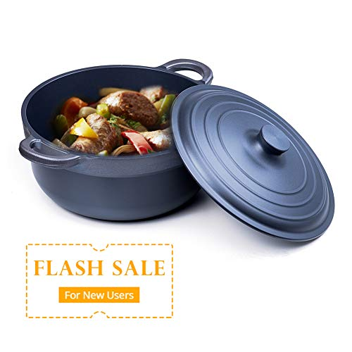 Cast Aluminium Dutch Oven with Dual Handles and Lid-5-Quart by S.KITCHN