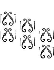 "6 Shutter Dog Pairs Set Black Aluminum Scroll 6-1/2"""