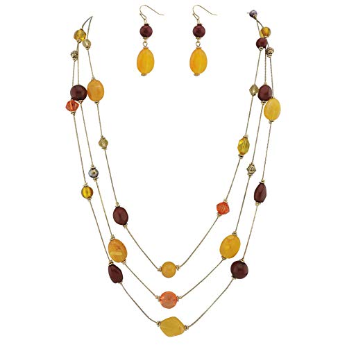 COIRIS 3 Layers Illusion Wire Long Statement Necklace for Women Blue Green Beaded N0006Yellow + - Necklace Wire Multi