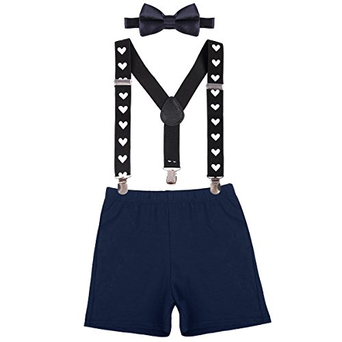 - Kids Boys First Birthday Adjustable Y Back Elastic Clip Suspenders Cake Smash Boutique Outfit Tuxedo Pre-tied Bloomers Bowtie set Z# Deep Blue