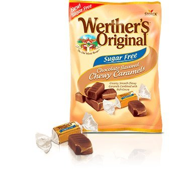 Werther's Original Sugar Free Chocolate Chewy Caramels 2.75 Oz Caramel Chocolate Sugar