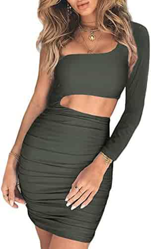 0f8585a6b7f CHYRII Women s Sexy One Shoulder Sleeveless Cutout Ruched Bodycon Mini Club  Dress