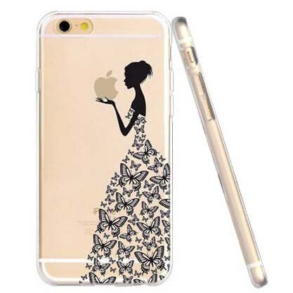"Price comparison product image iPhone 6S Plus 5.5"" Case, iPhone Logo in butterfly skirt girl hand Creative imaginative Case for iphone6 Plus ,6Plus 6S Plus elegant girl Design Soft Thin Clear Case (Slim TPU butterflys lady )"