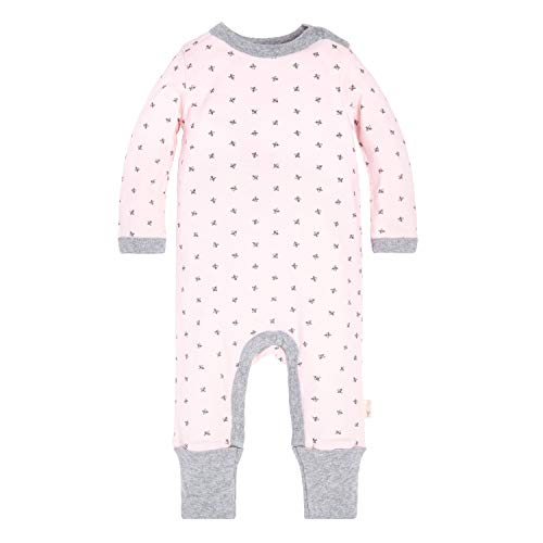 Burt's Bees Baby Baby Girls Romper Jumpsuit, 100% Organic Cotton One-Piece Coverall, Pink Sketched Bees 6-9 Months