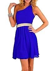 اف جى فستان شيفون ازرق رويال/ذهبى مناسبة خاصة -نساء