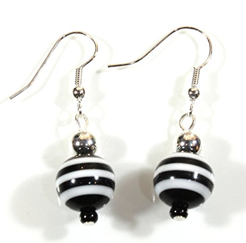 Gondolier Black and White Striped Funky Bead Earrings, 1.5 Inches -