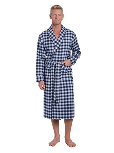 Men's Premium Flannel Robe - Gingham Checks - Navy Blue - Small/Medium