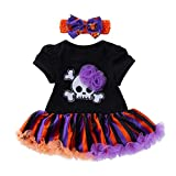 XILALU Infant Toddler Baby Girls Halloween Dress - Skull Skeleton Cotton Flowers Stripe Party Clothes Outfits with Bow Headband