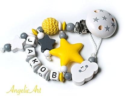 Cadena para chupete niño amarillo de gris 3d Estrella con ...
